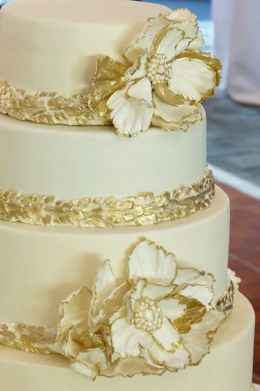Gold And Ivory Peony Jeweled 5 Tier Wedding Cake