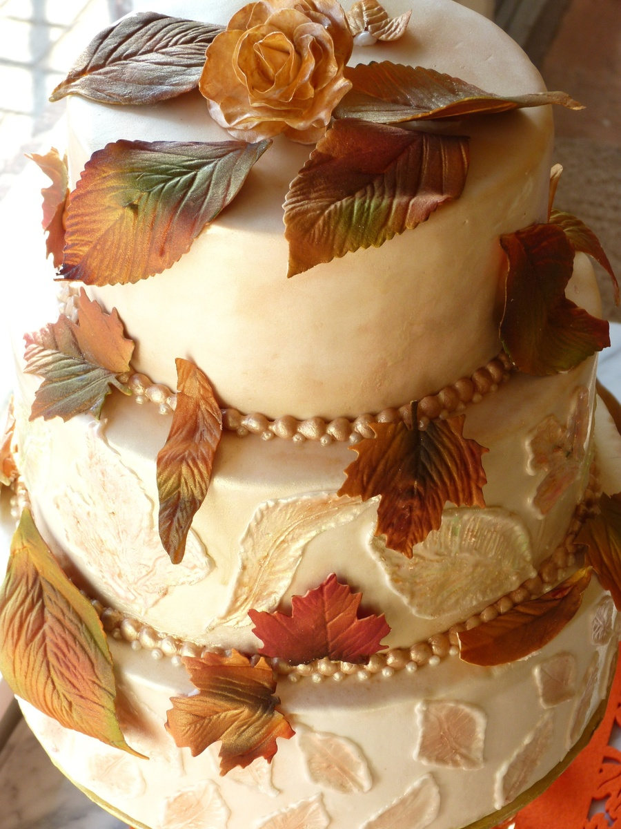 Autumn Wedding Cake on Cake Central