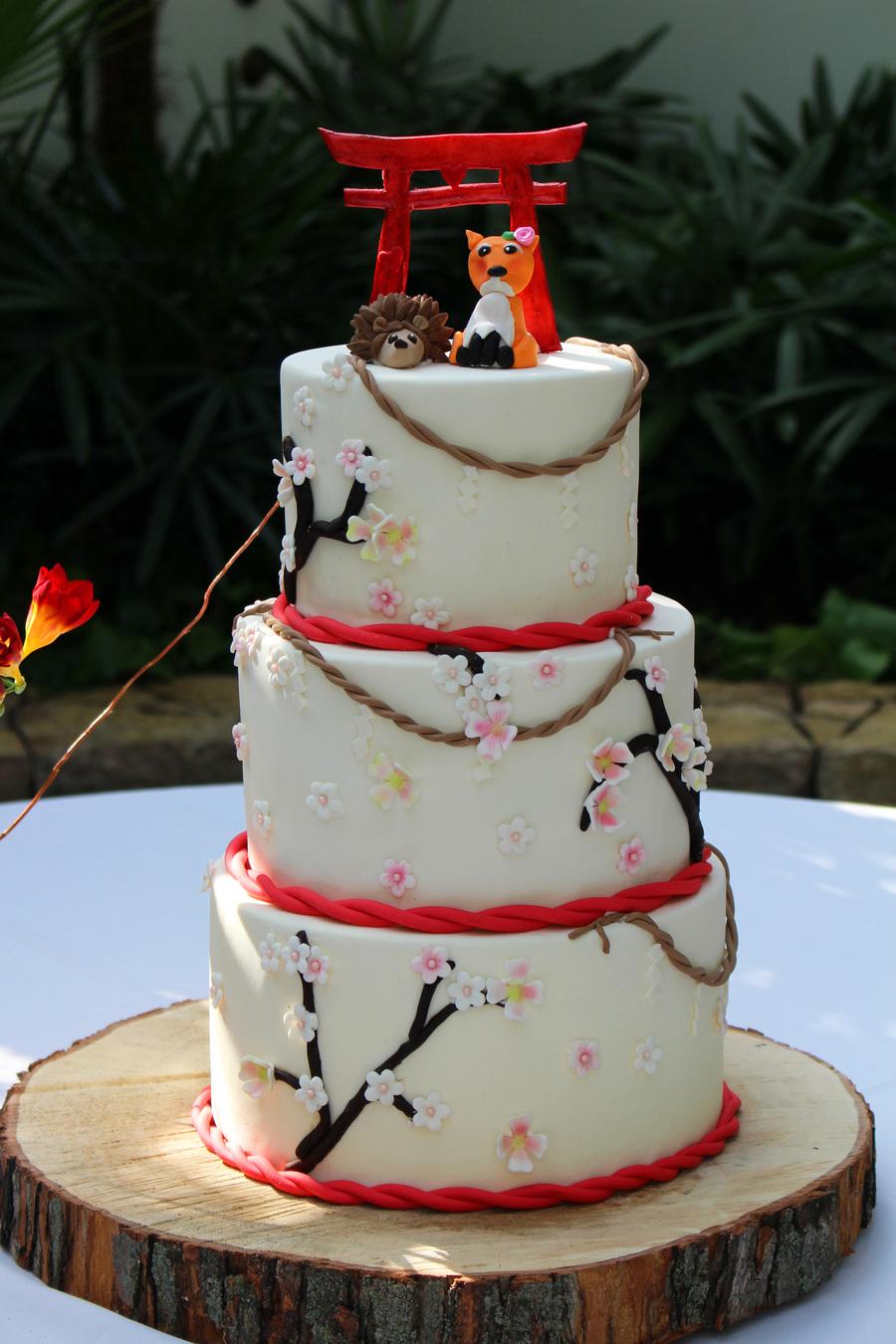 Japanese Wedding Cake With Handmade Fox Hedgehog And Torii Gate Topper