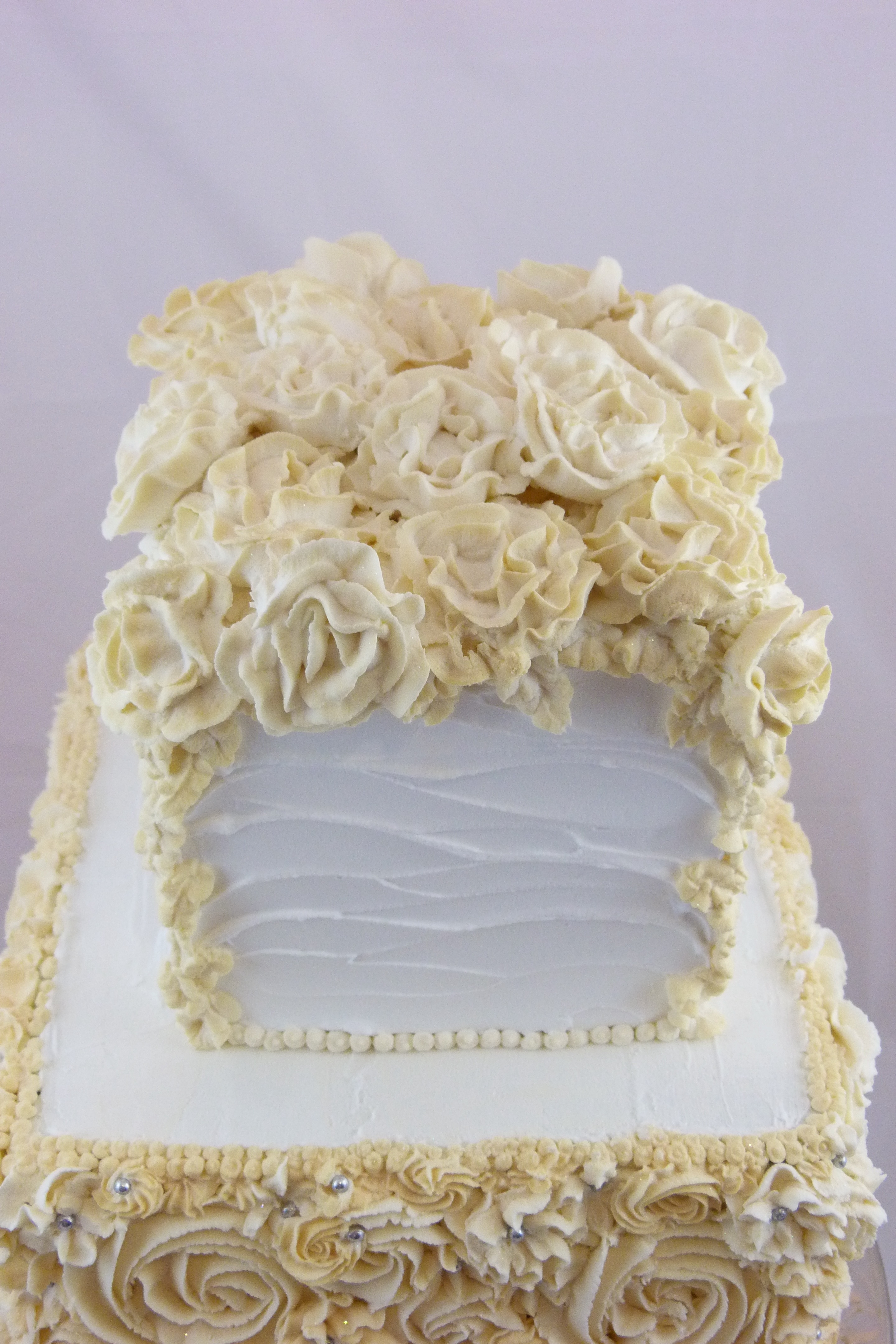 Square Buttercream Piped Cake In Ivory And White