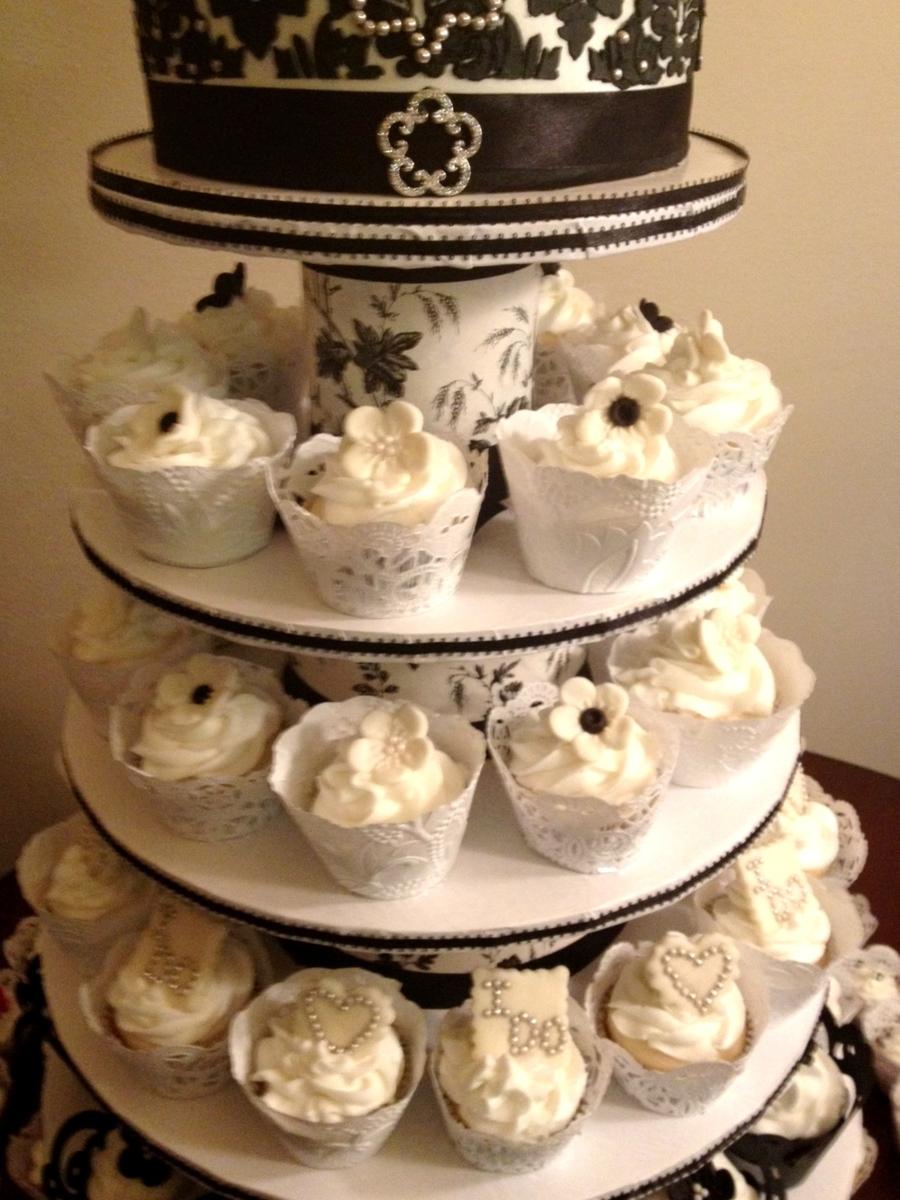 Diy Cupcake Tower/ Black & White Wedding Cake - CakeCentral.com