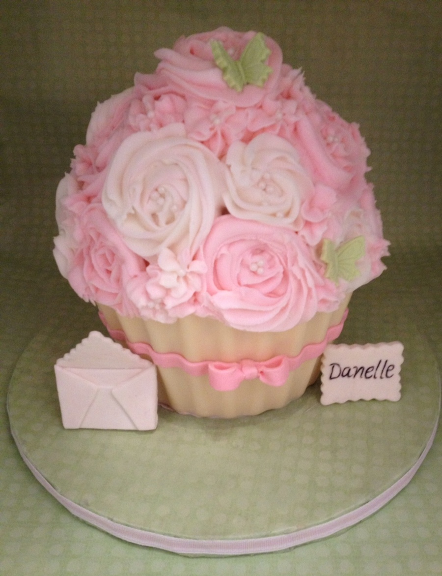 Giant Cupcake Shabby Chic on Cake Central