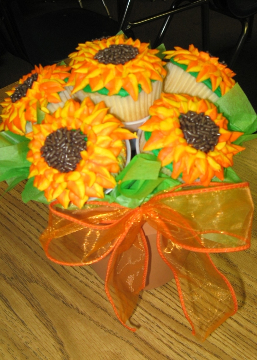 Sunflower Cupcake Bouquet on Cake Central