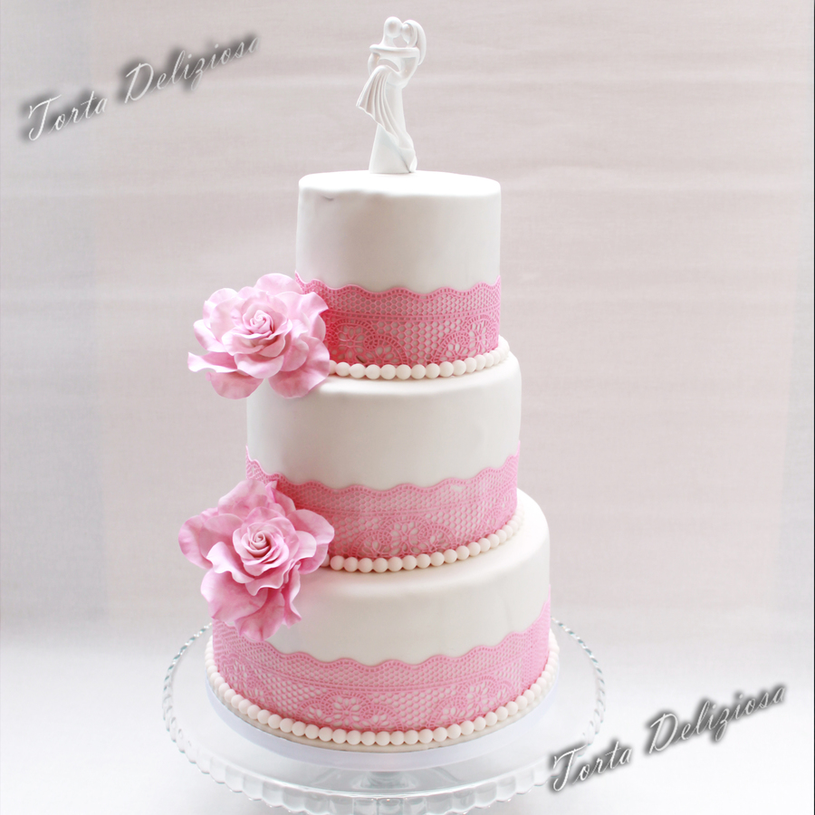 Elegant Lace Wedding Cake With Roses - CakeCentral.com