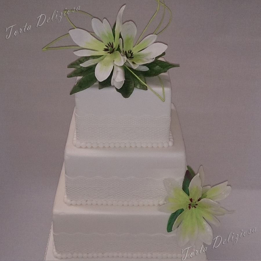 Wedding Cake With Sugarveil And Magnolia's on Cake Central