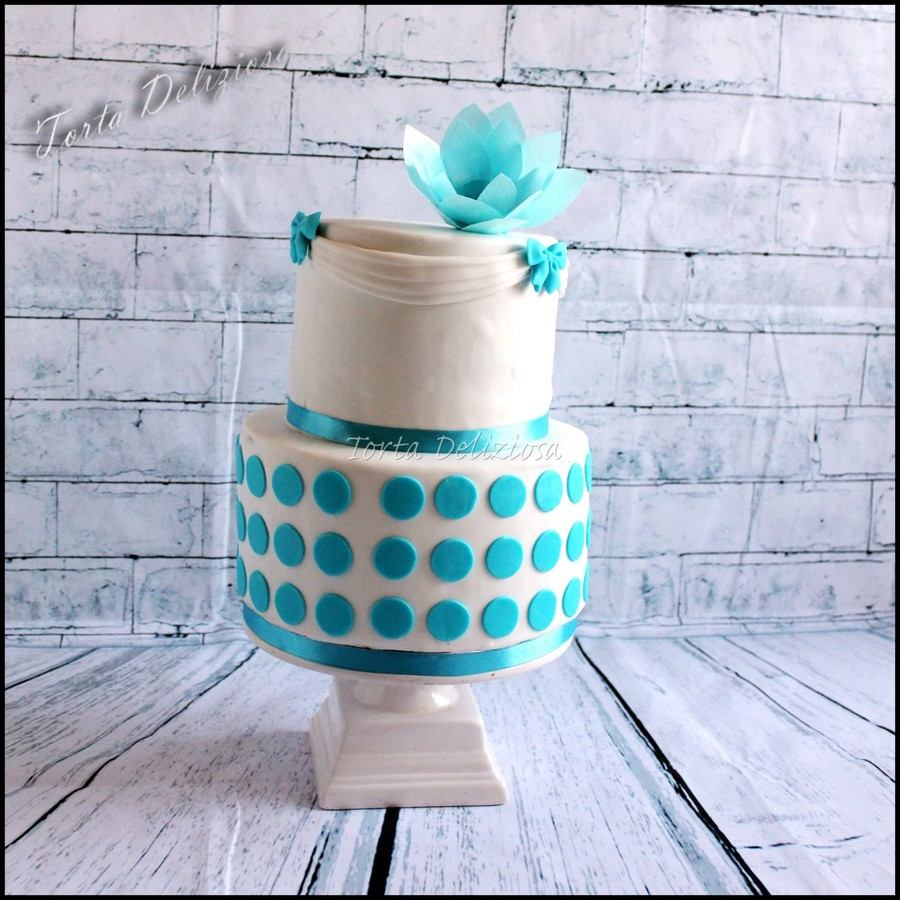 Blue Pattern Wedding Cake on Cake Central