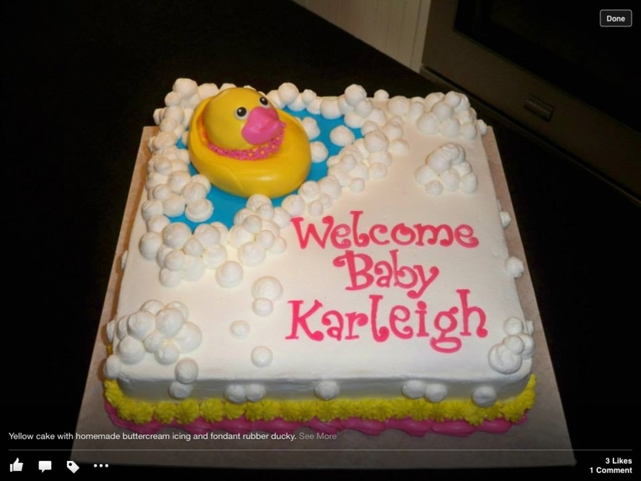 Duck Themed Baby Shower Cakes ~ Rubber ducky themed baby shower cake all edible duck lettering and