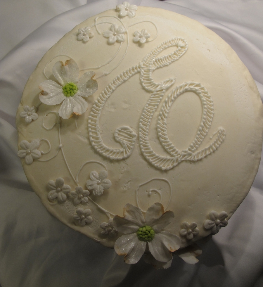 Monogram In Ivory And White on Cake Central