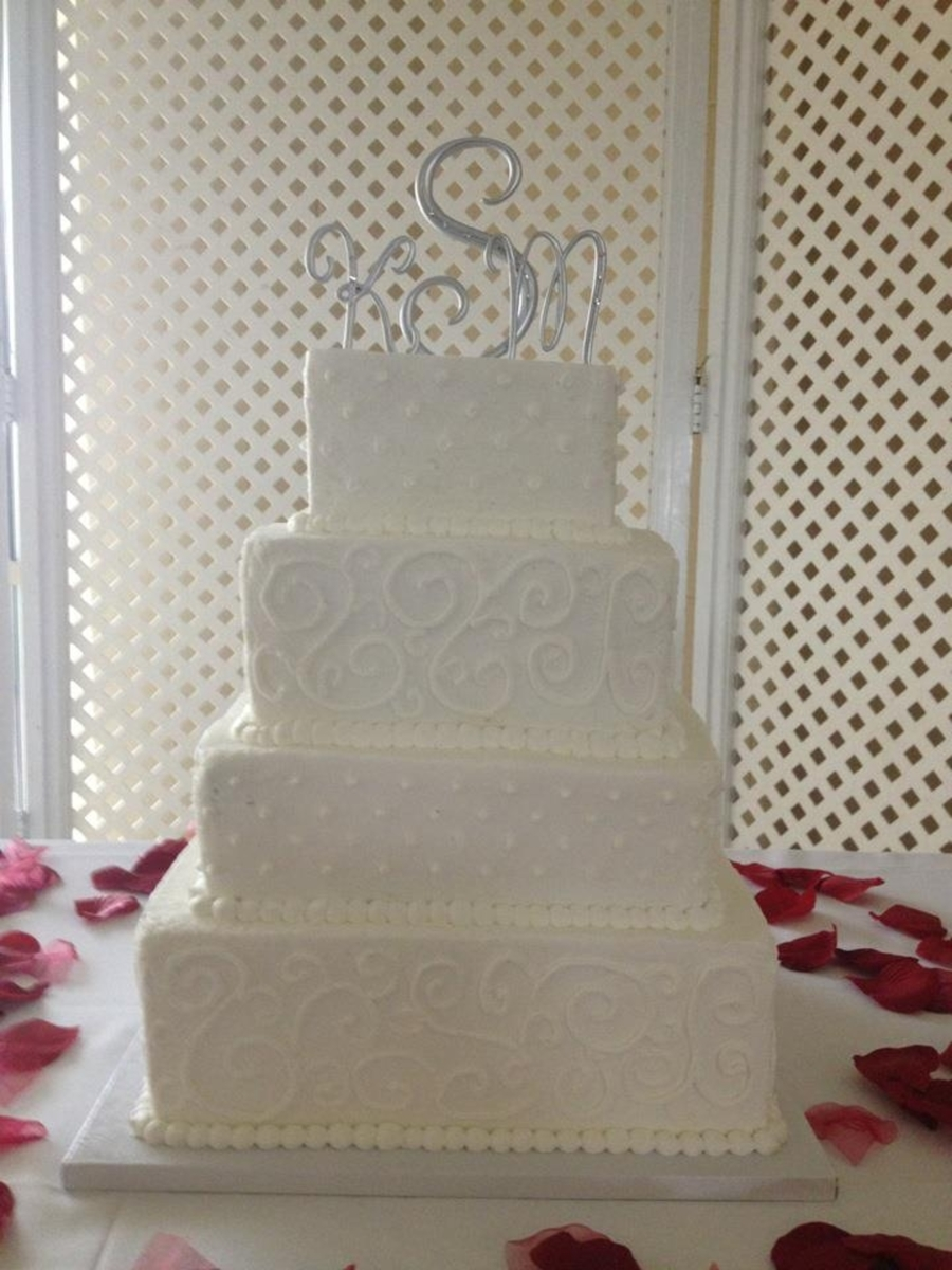 4-Tier Square Wedding Cake  on Cake Central