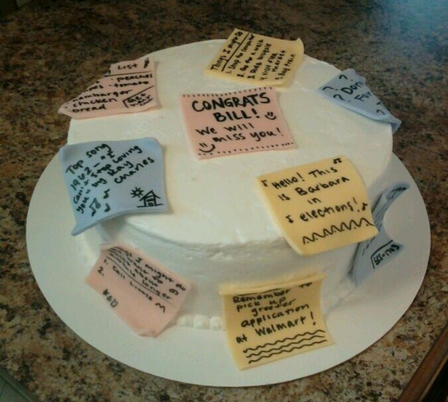 Post-It Note Retirement Cake on Cake Central
