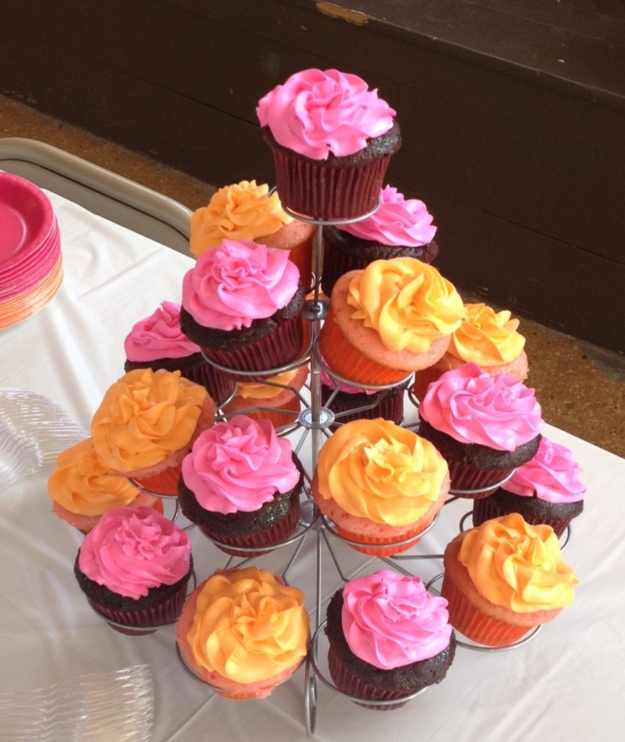 Orange And Pink Cupcakes on Cake Central