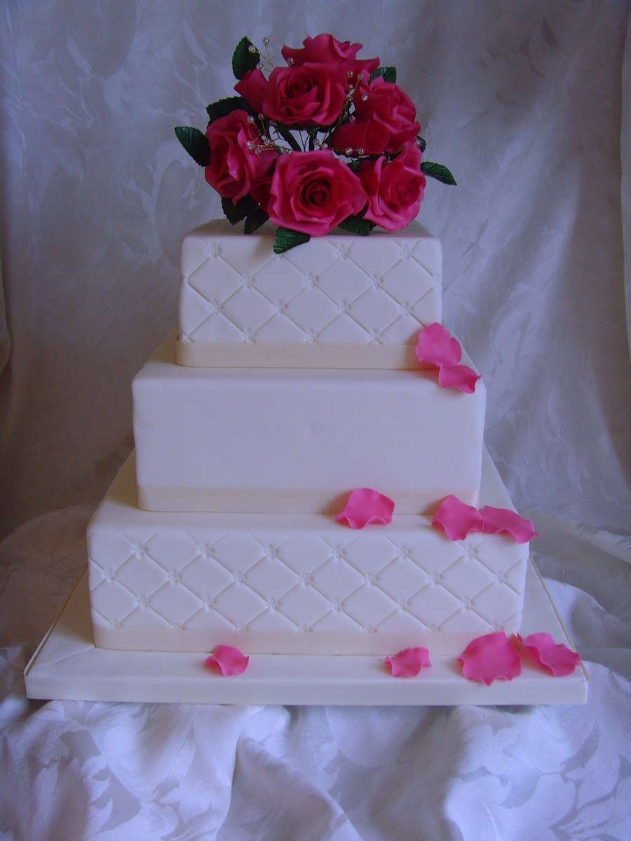 Wedding Cake With Rose Posy on Cake Central