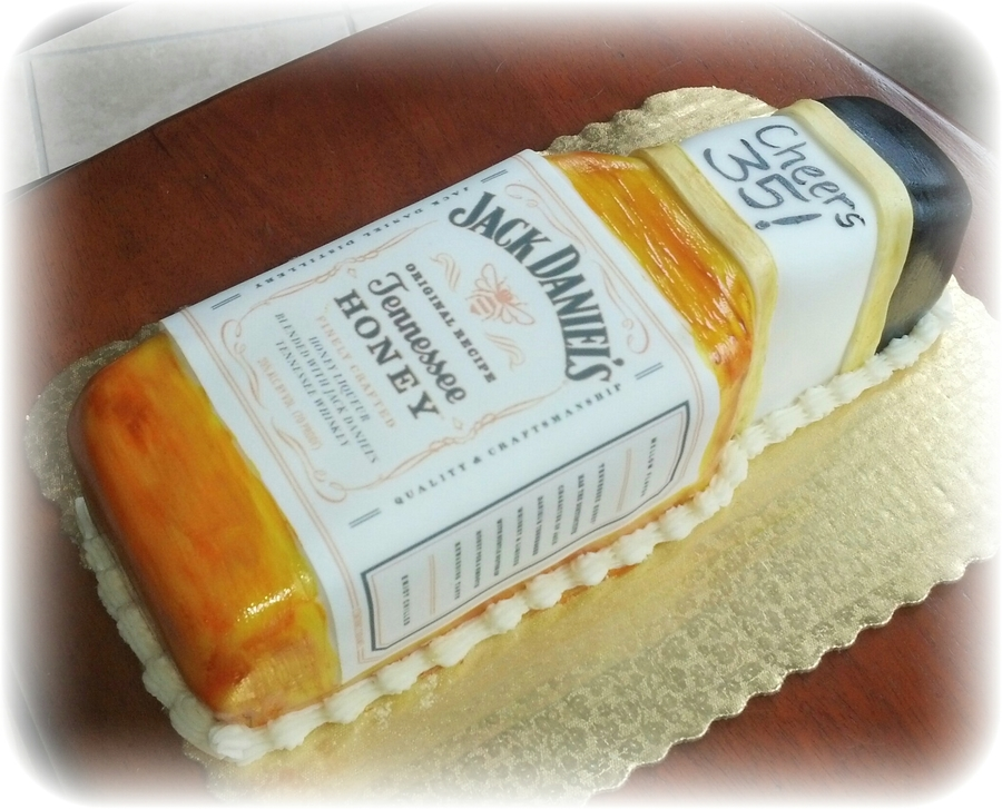 Jack Daniels Tennessee Honey Whiskey Cake Carved Hand Painted Liquor And Cap Edible Label Ercream Filling