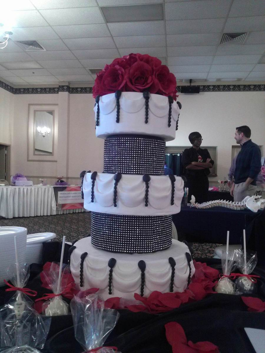 Fondant Covered And Fondant Swags And Beads Silk Roses On Top Black Rhinestone Wrap On Separators on Cake Central