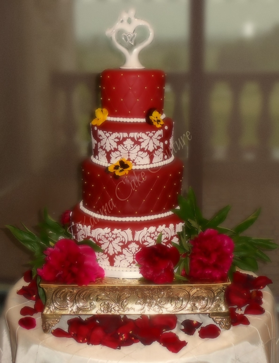 Crimson Damask And Diamond Cut 4 Tier Wedding Cake on Cake Central
