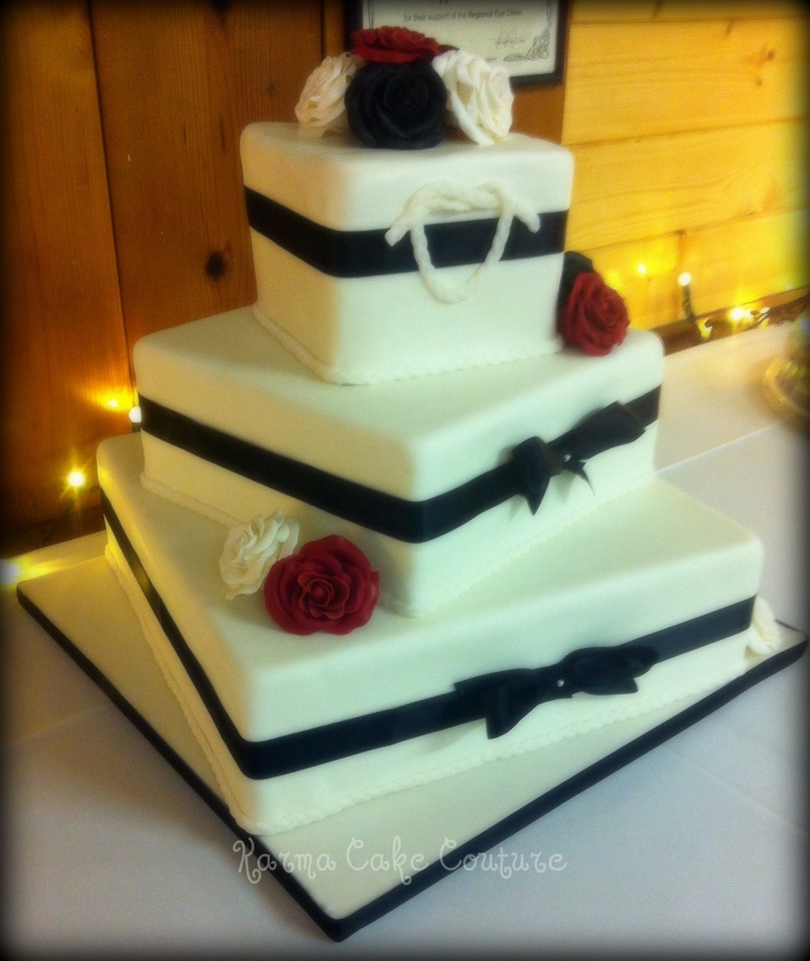 square three tier wedding cakes square 3 tier wedding cake with gumpaste roses 20372