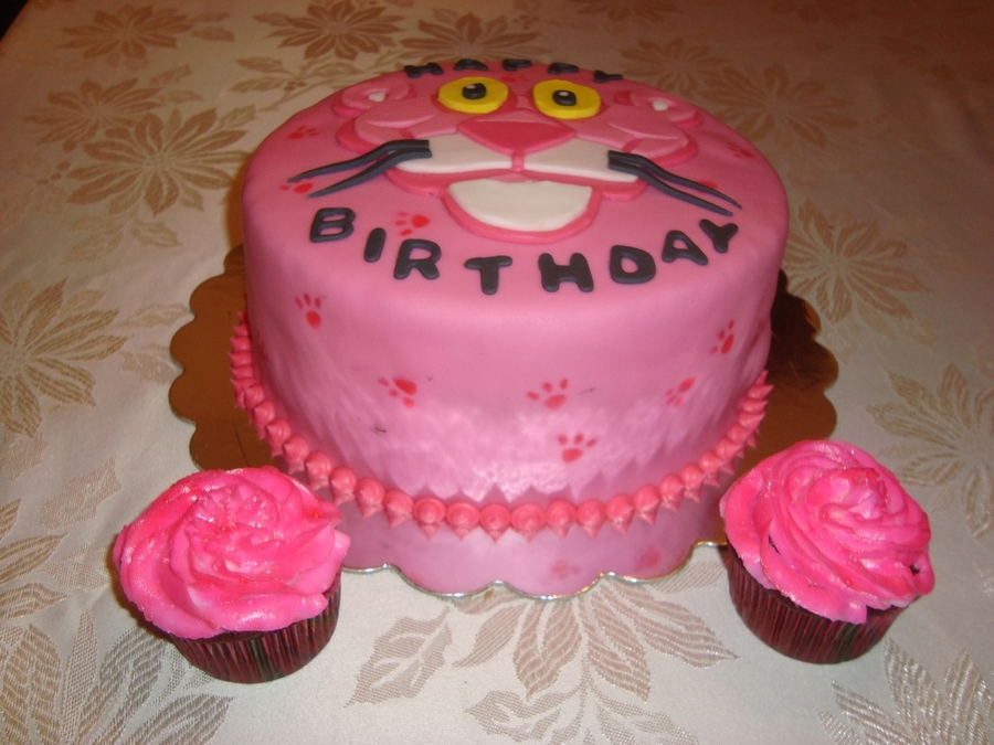 Pink Panther Birthday Cake And Cupcakes CakeCentralcom