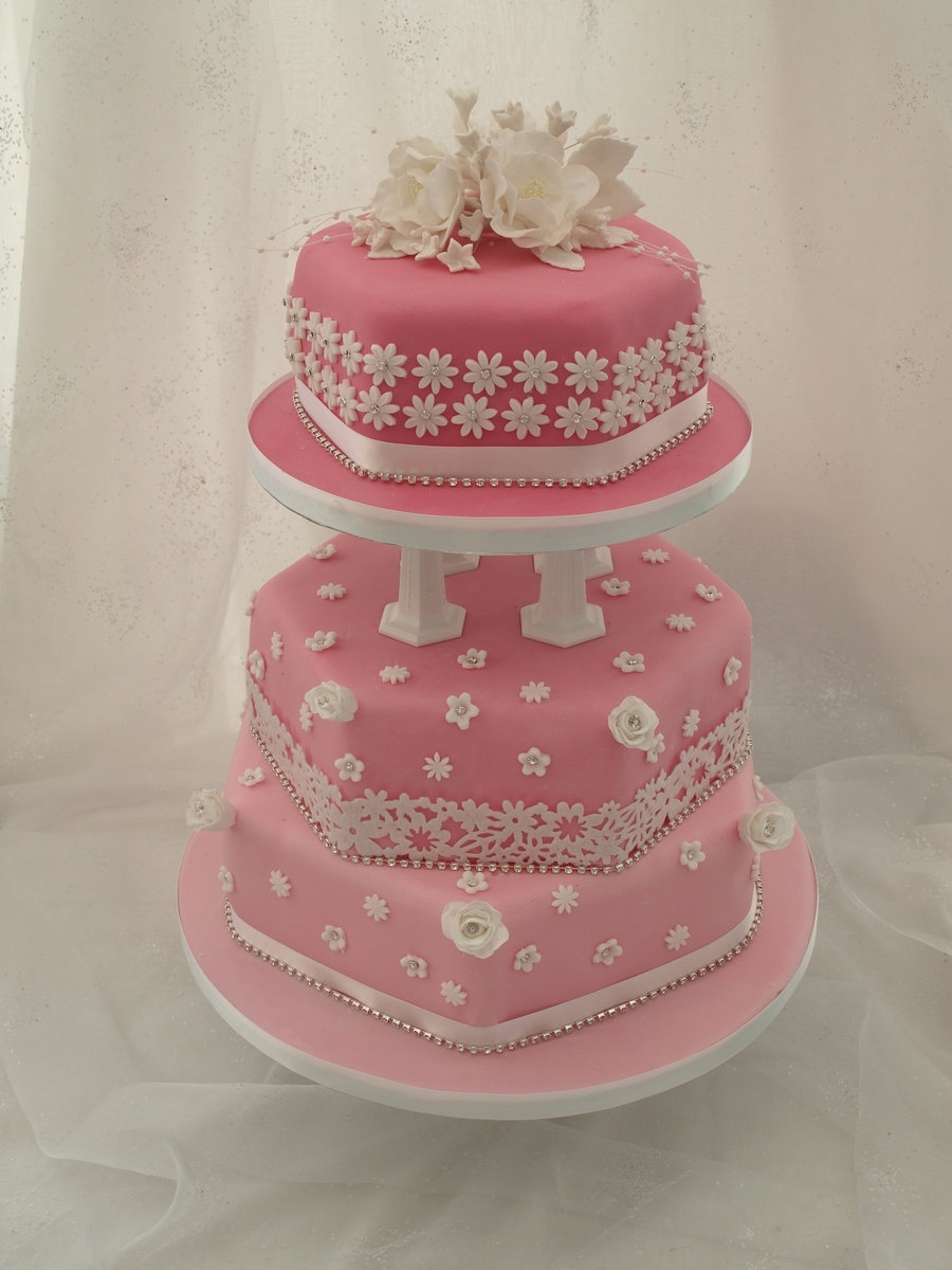 Pink And White Sparkly Hexagonal Wedding Cake on Cake Central