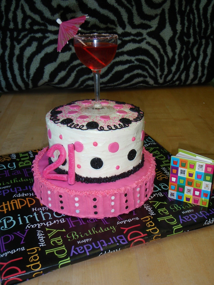 Polka Dotted 21St on Cake Central