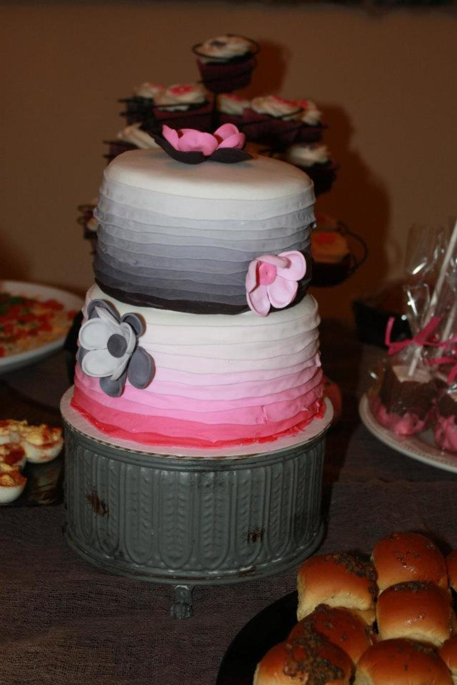Pink And Black Two Tiered Ombre Ruffle Cake. on Cake Central