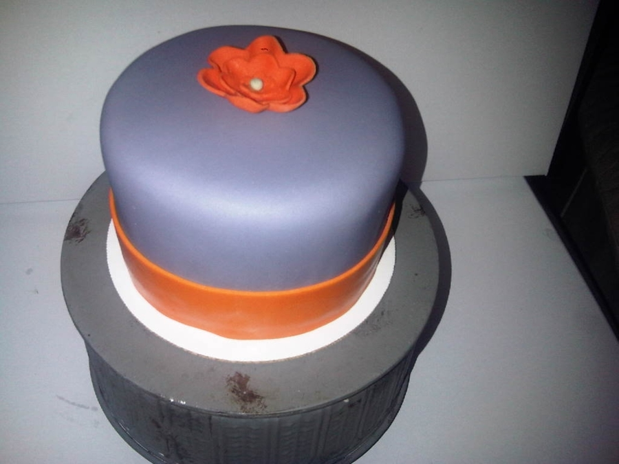 "Gray And Orange 5"" Birthday Cake on Cake Central"