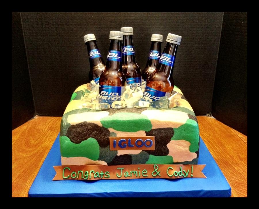 Camo Bud Light Cooler Cake - CakeCentral com