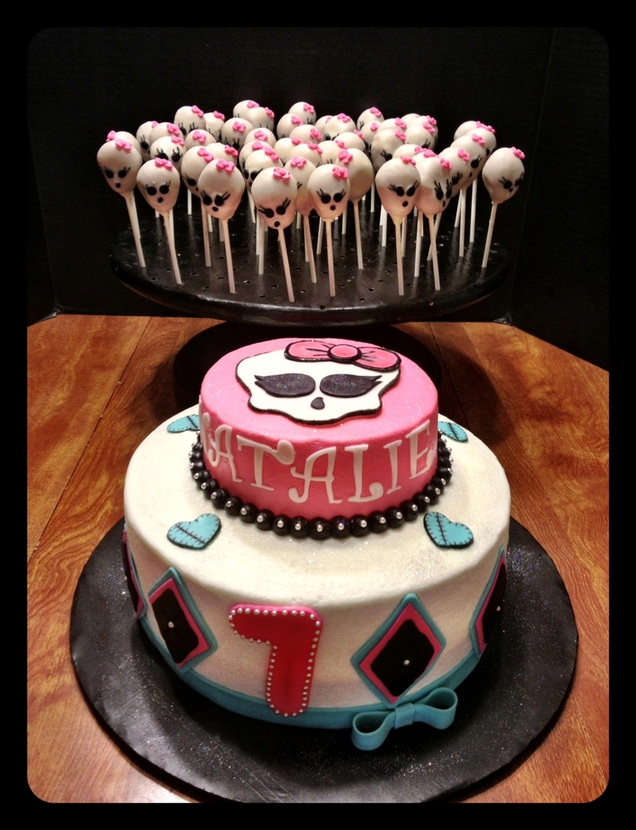 Monster High Cake And Skull Cake Pops on Cake Central