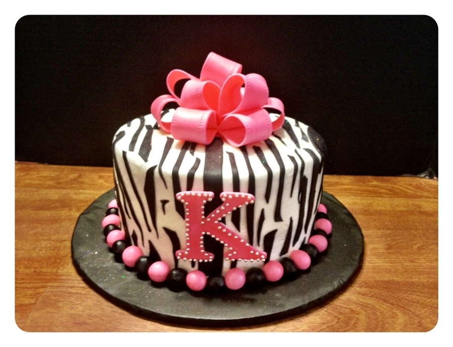 Pink Zebra Striped Bling Cake on Cake Central