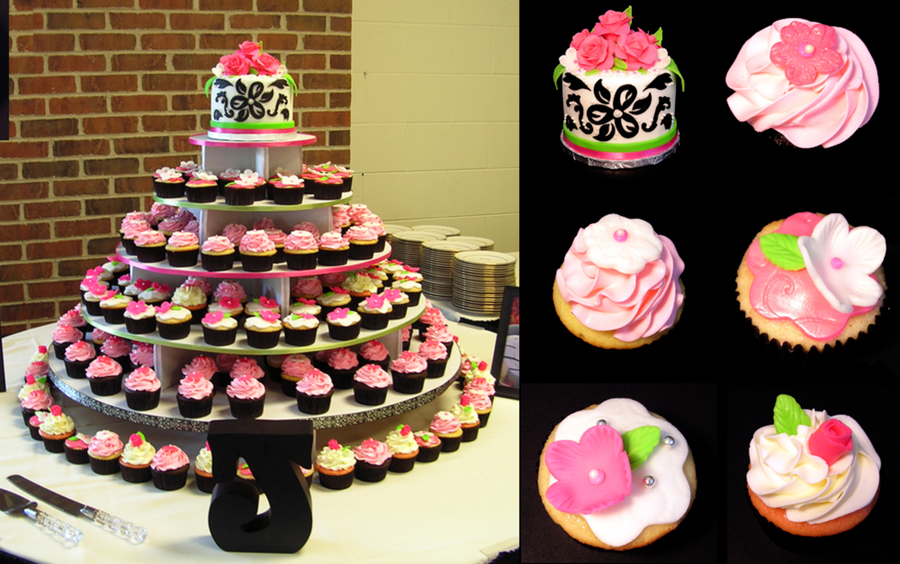 Damask Print Black, White, Lime, Hot Pink Wedding Cupcake Tower on Cake Central