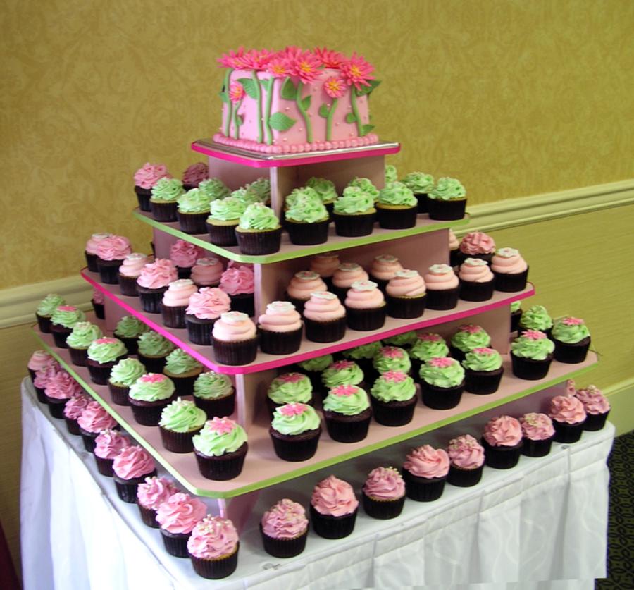 Wedding Cupcake Tower: Gerbera Daisy, Pink & Sage Green Wedding Cupcake Tower