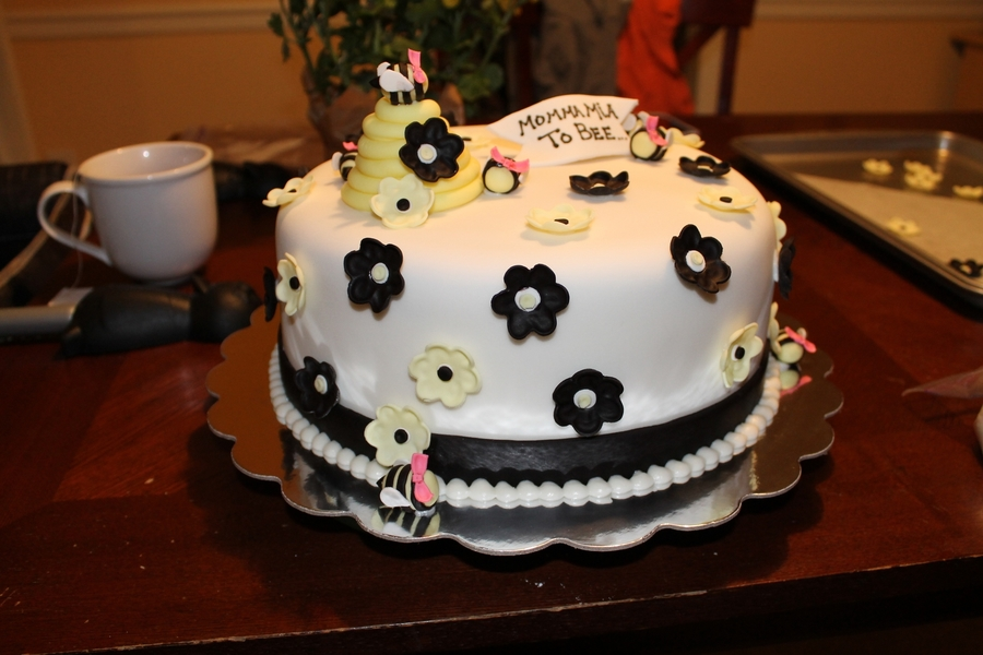 Strawberry Cake With Butter Cream Covered In Fondant Bees Hive And Flower Are Gumpaste Mix All Edible Bee Bumble Baby