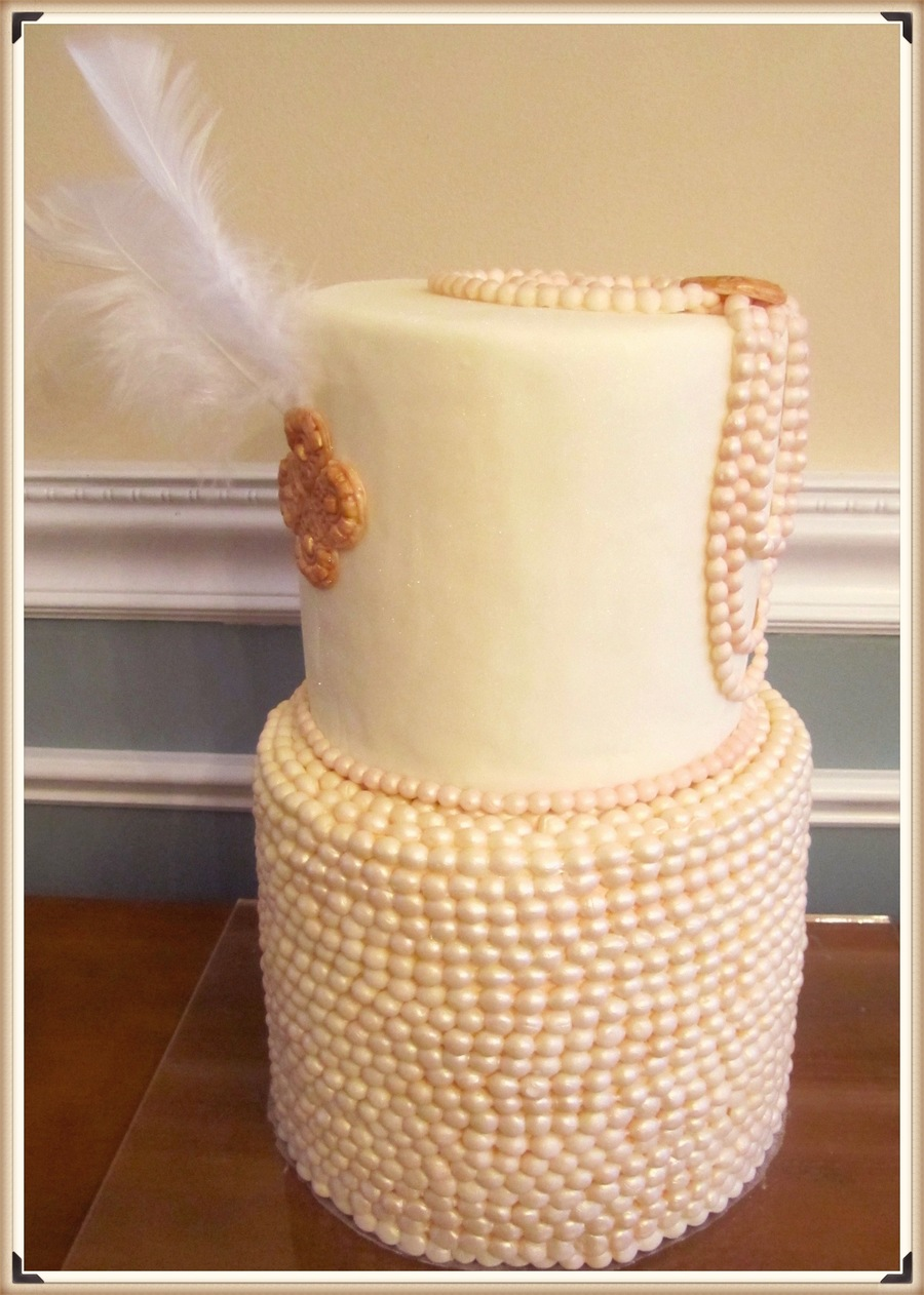 Great Gatsby Inspired Pearl And Feather Bridal Shower Cake on Cake Central