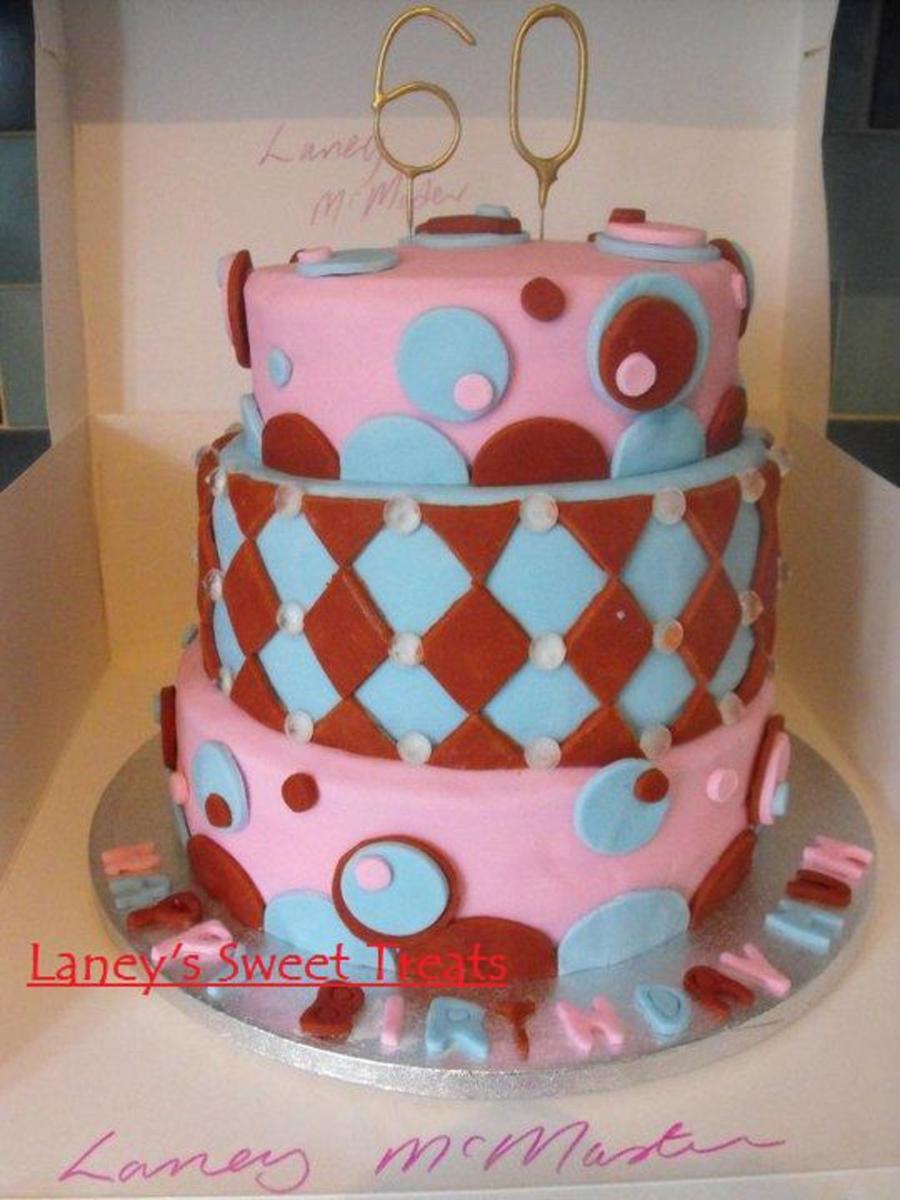 Pleasing 3 Tier Birthday Cake Diamond Spots Design Cakecentral Com Funny Birthday Cards Online Chimdamsfinfo