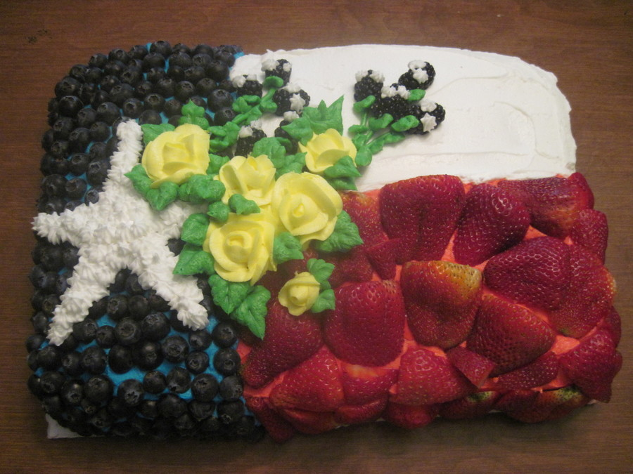 Texas Flag With Fruit on Cake Central