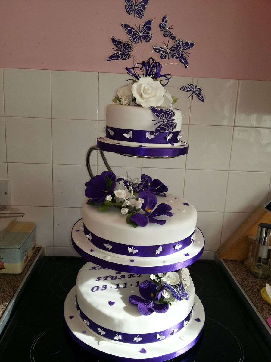 Purple Vanda Orchids And White Roses With Butterflies This Was The