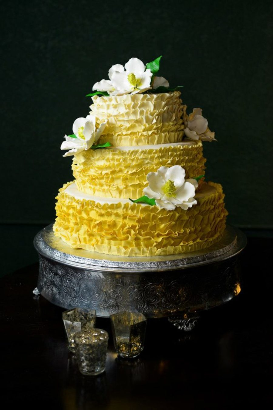 Yellow Ombre Ruffle Wedding Cake With Gumpaste Magnolias ...