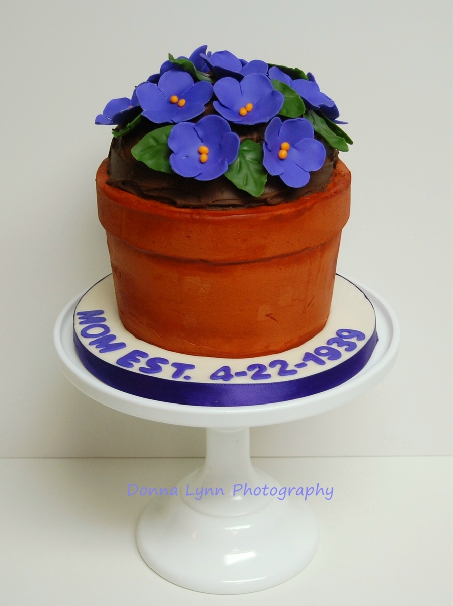 Pot Of African Violets Cake on Cake Central