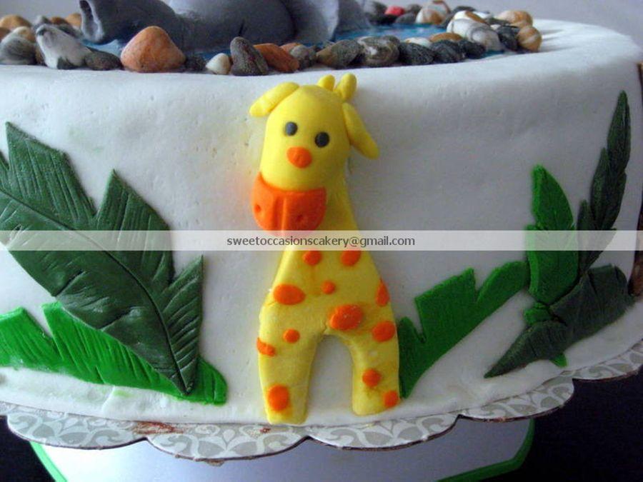animal themed baby shower cake