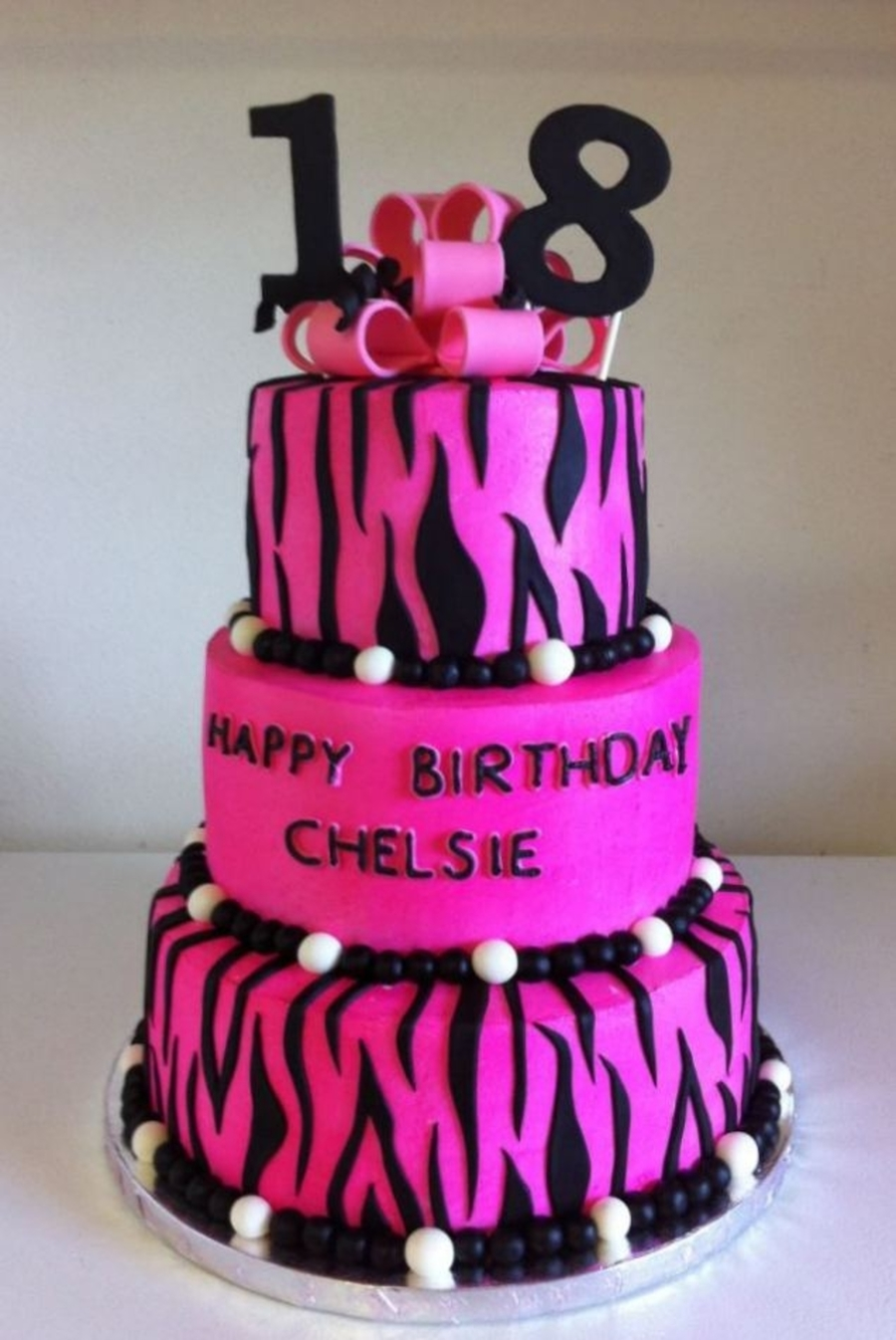 Pink And Zebra Birthday Cake on Cake Central