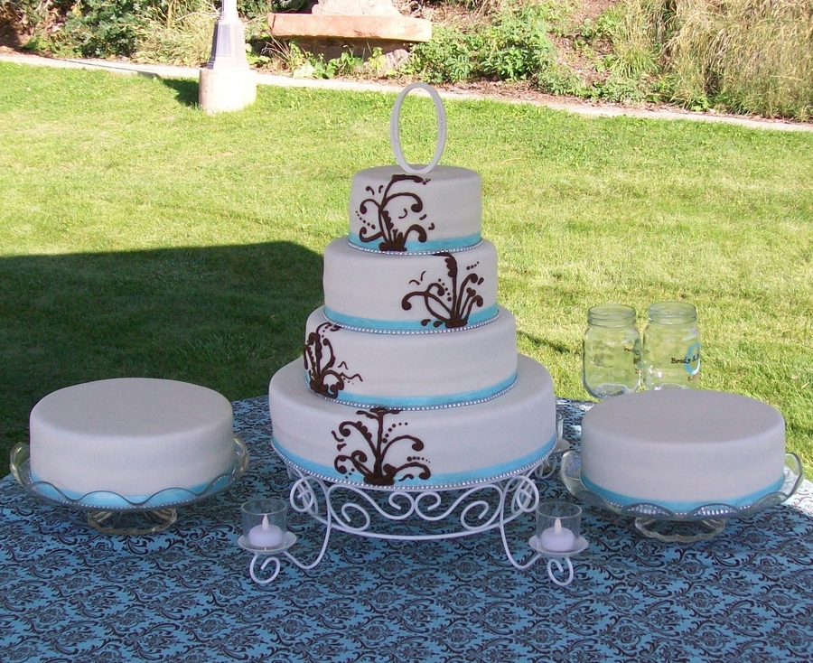Blue/brown Wedding on Cake Central