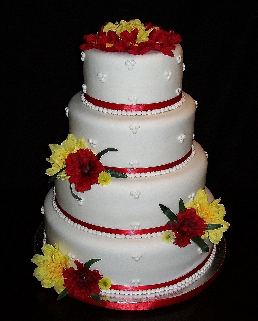 Red/yellow Wedding on Cake Central