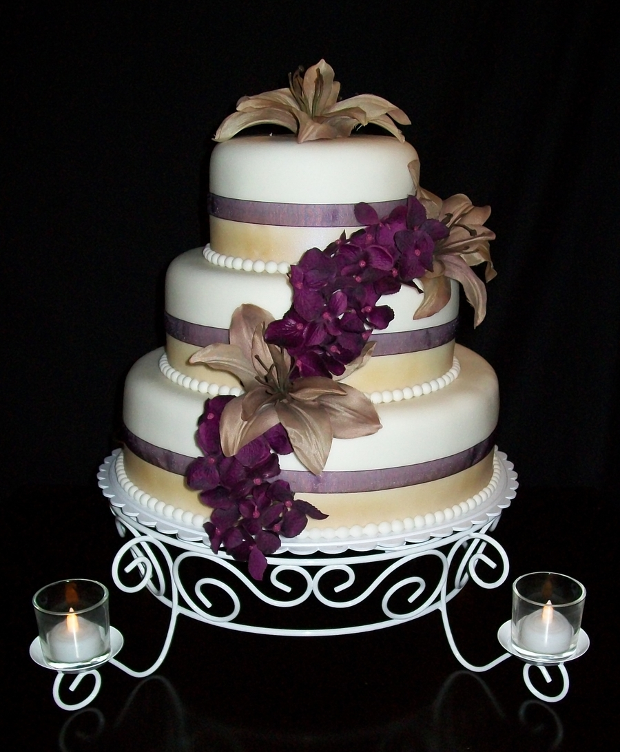 Champagne/plum Wedding on Cake Central
