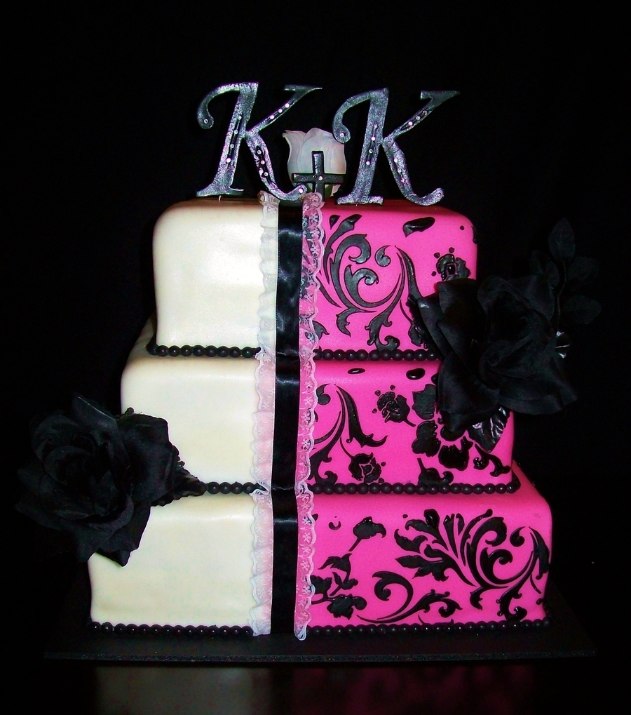 Pink & Black Wedding on Cake Central