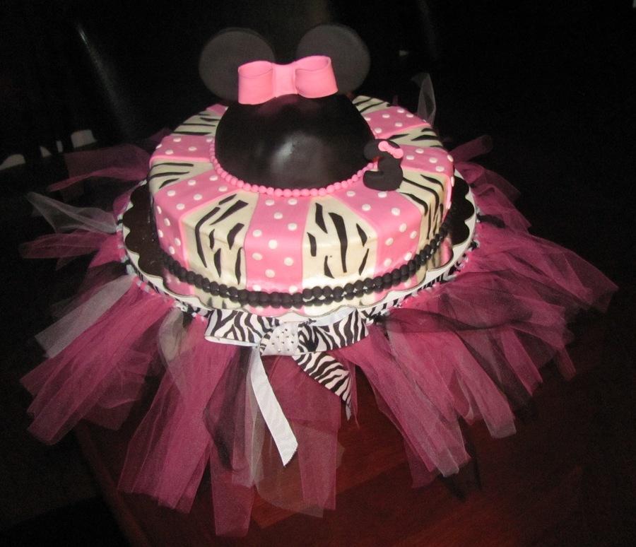 Minnie Mouse Zebra Print Birthday Cake CakeCentralcom