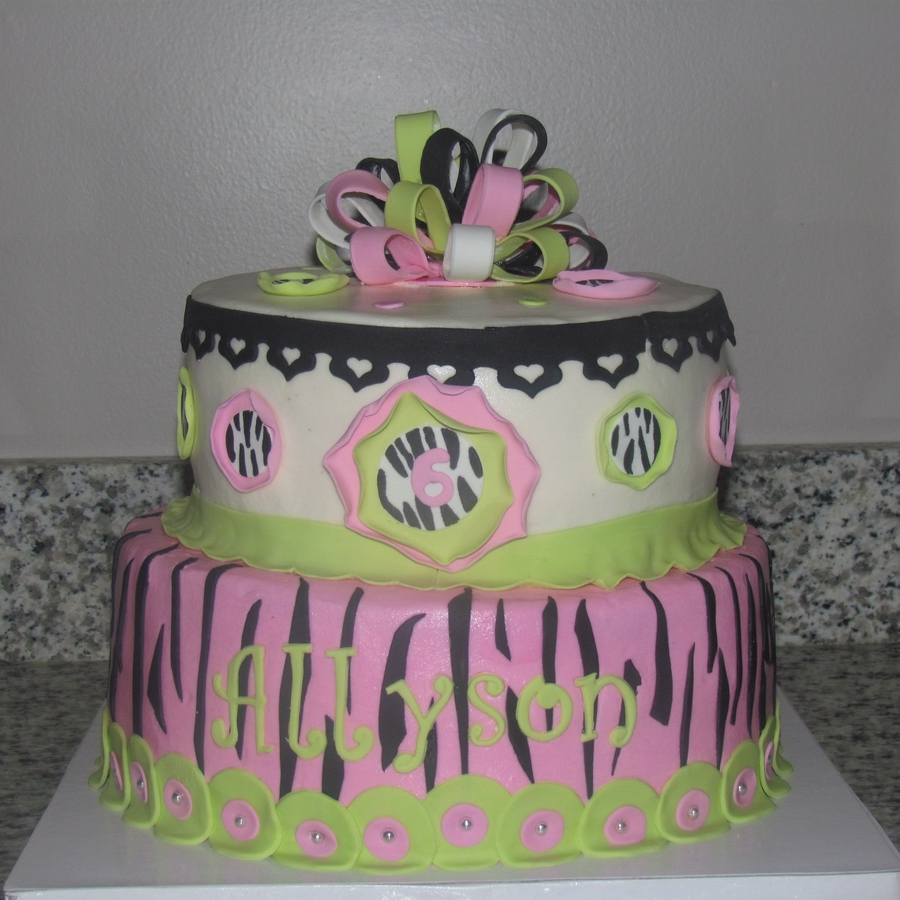Pink And Green Zebra Print Cake on Cake Central