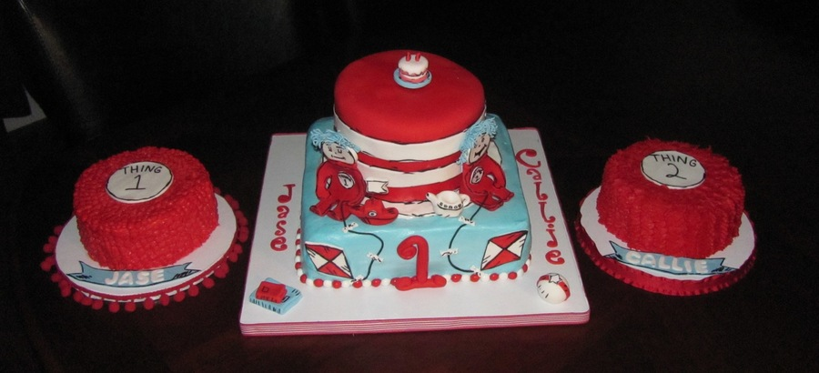 Swell Dr Suess First Birthday Cake And Smash Cakes For Twins Funny Birthday Cards Online Alyptdamsfinfo