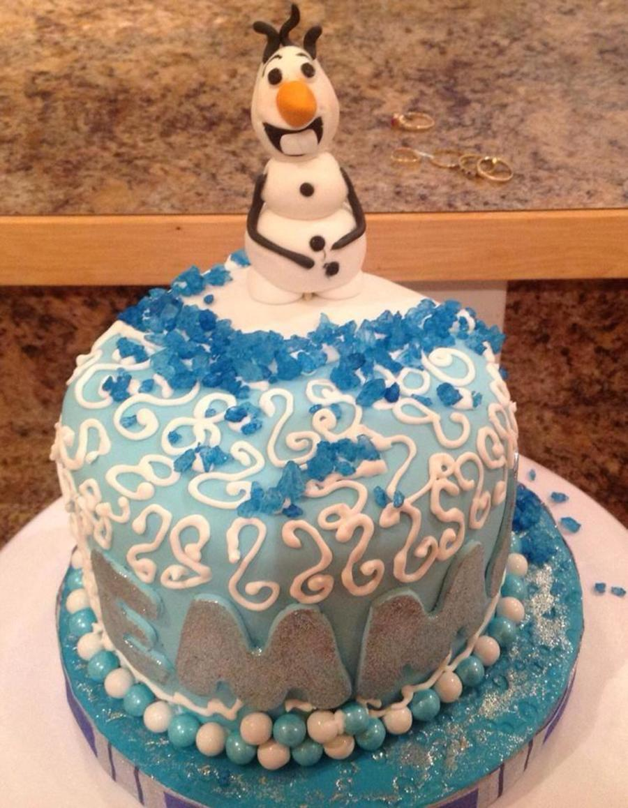 Cool Frozen Themed Birthday Cake Im Not At All Happy With Olaf But That Personalised Birthday Cards Rectzonderlifede