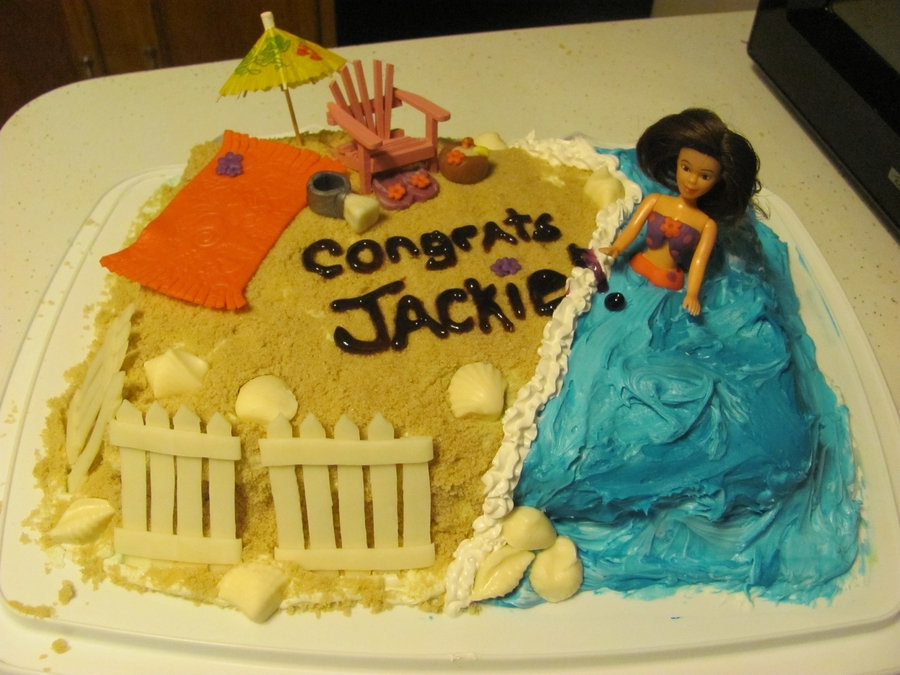 Beach Bachelorette Cake  on Cake Central