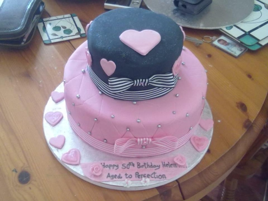 2 Tier Black And Pink Birthday Cake on Cake Central