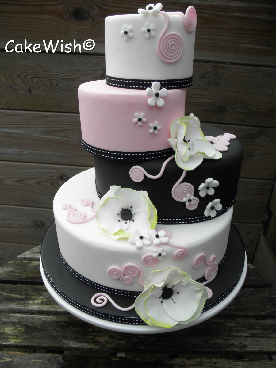 wedding cakes black white and pink wedding cake black white amp pink cakecentral 23902
